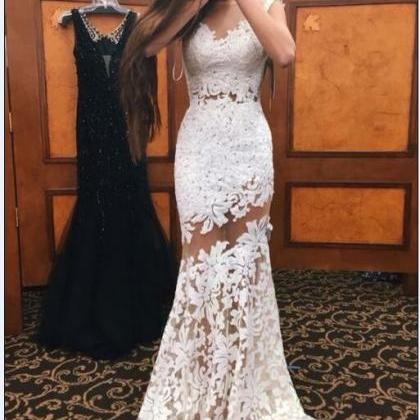 White Prom Dresses, Lace Prom Dress..