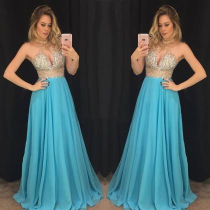 Blue Prom Dress, Beaded Prom Dress,..