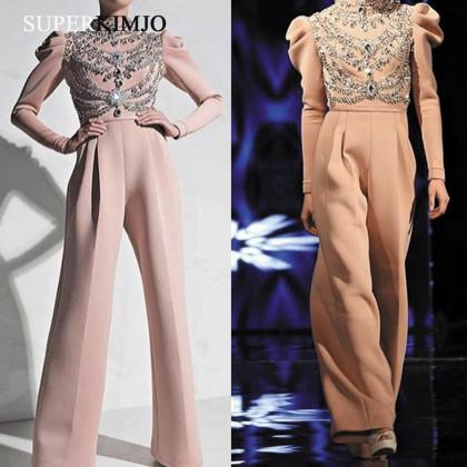Dusty Pink Beaded Jumpsuits for Wed..