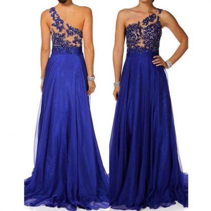 chiffon prom dresses, royal blue pr..