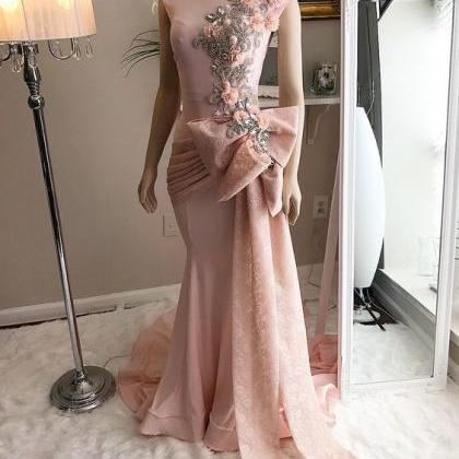 pink prom dresses, lace prom dresse..