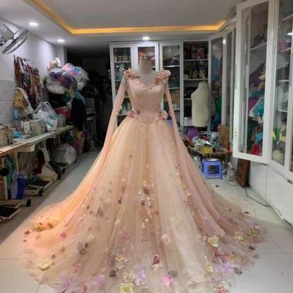 flowers prom dresses, pink prom dre..