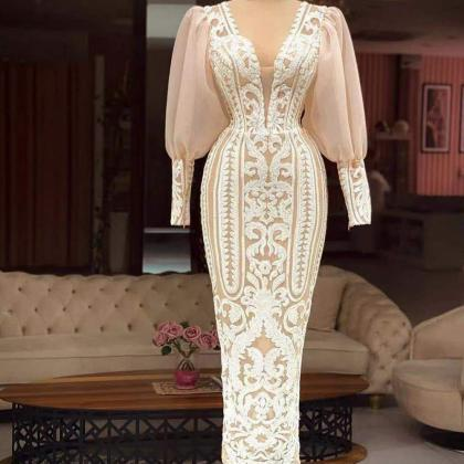 white prom dress, lace prom dresses..