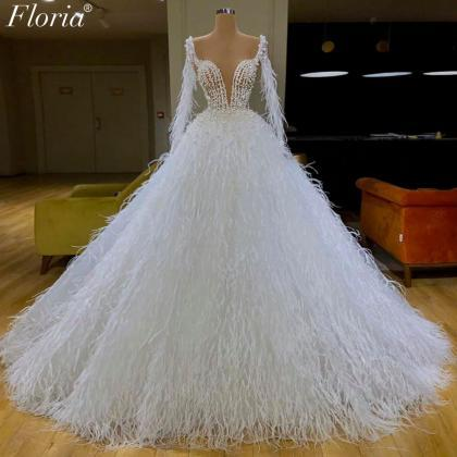 feather wedding dresses, ball gown ..