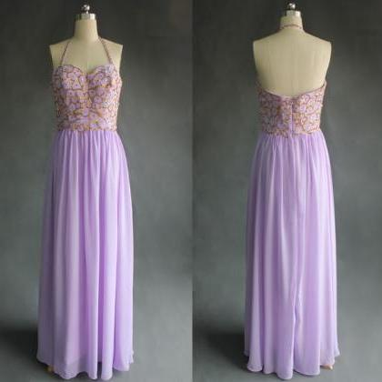 Lavender Prom Dress, Halter Prom Dr..