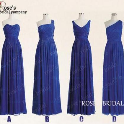 Royal Blue Mismatched Long Chiffon ..