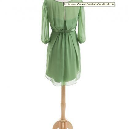 Long Sleeve Modest Green Bridesmaid..