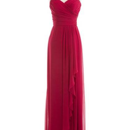 Wine Red Colored Long Bridesmaid Dr..