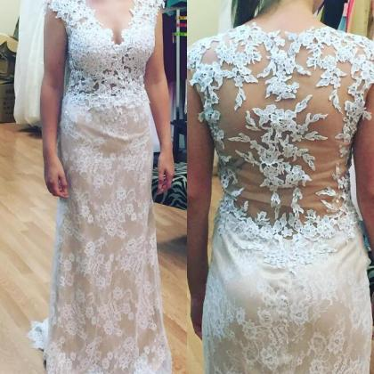 Champagne Evening Dress, Lace Appli..