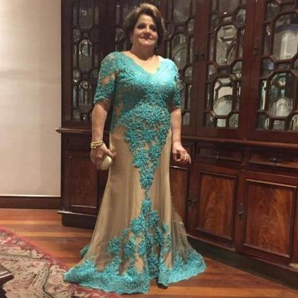 Plus Size Prom Dress, Turquoise Blu..