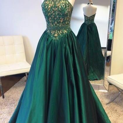 Hunter Green Prom Dress, Beaded Pro..