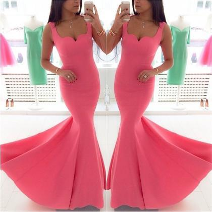 Coral Evening Dress, Mermaid Evenin..