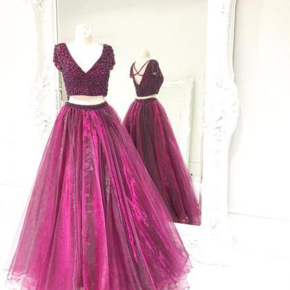 Purple Prom Dress, Beaded Prom Dres..