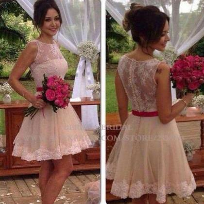 Lace A Line Prom Dresses, Sheer Cre..