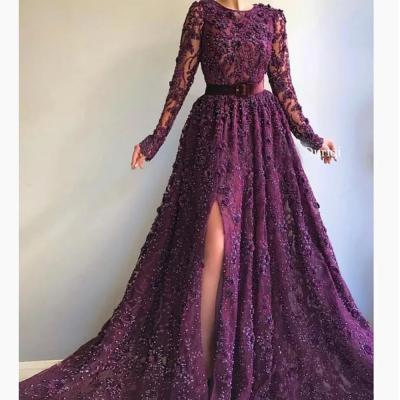 burgundy prom dresses 2019 crew neckline lace beading sequins lace long sleeve evening dresses arabic party dresses