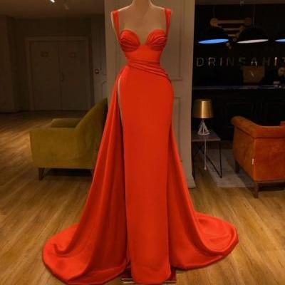 red prom dresses, 2020 sweetheart prom dresses, satin evening dresses, a line evening dresses, pleats prom dresses, side slit prom dresses, a line prom dresses, side slit prom dresses, formal dresses, arabic evening dresses, new arrival prom dresses, cheap party dresses