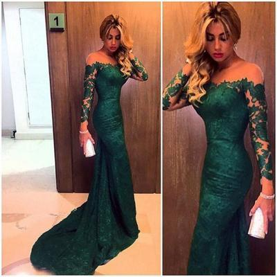 Green Evening Dresses, 2016 Lace Prom Dresses, Mermaid Party Dresses, Long Sleeve Evening Gowns, Off the Shoulder Prom Gowns, Sheer Women Party Dresses