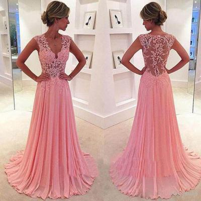 Pink Prom Dresses, 2016 Sheer Evening Dresses, V Neck Lace Evening Gowns, Chiffon Long Evening Dress, Long Evening Dresses, Custom Make Prom Dress, Lace Women Party Dresses