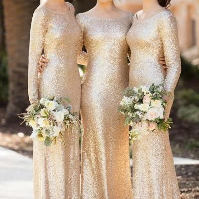 Gold Bridesmaid Dresses, Champagne Bridesmaid Dresses, Sparkly Bridesmaid Dress, Gold Sequins Bridesmaid Dresses, Floor Length Bridesmaid Dress, Long Sleeve Bridesmaid Dresses, Shinning Maid Of Honor Dresses, Long Wedding Party Dresses, Cheap Bridesmaid Dresses