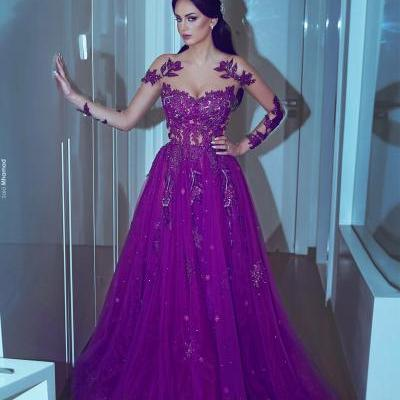 Purple Prom Dresses, Sheer Crew Prom Dresses, Long Sleeve Prom Dresses, Lace Appliques Prom Dresses, Sheer Prom Dresses, Lace Prom Dresses, A Line Prom Dresses, Cheap Evening Dress, Custom Make Evening Gowns, Cheap Party Dresses, Tulle Special Occasion Dresses