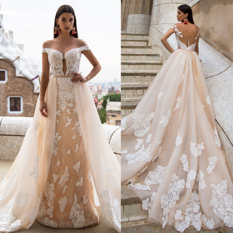 Detachable Trains For Wedding Gowns: A Line Wedding Dresses, Lace Bridal Dresses, Detachable