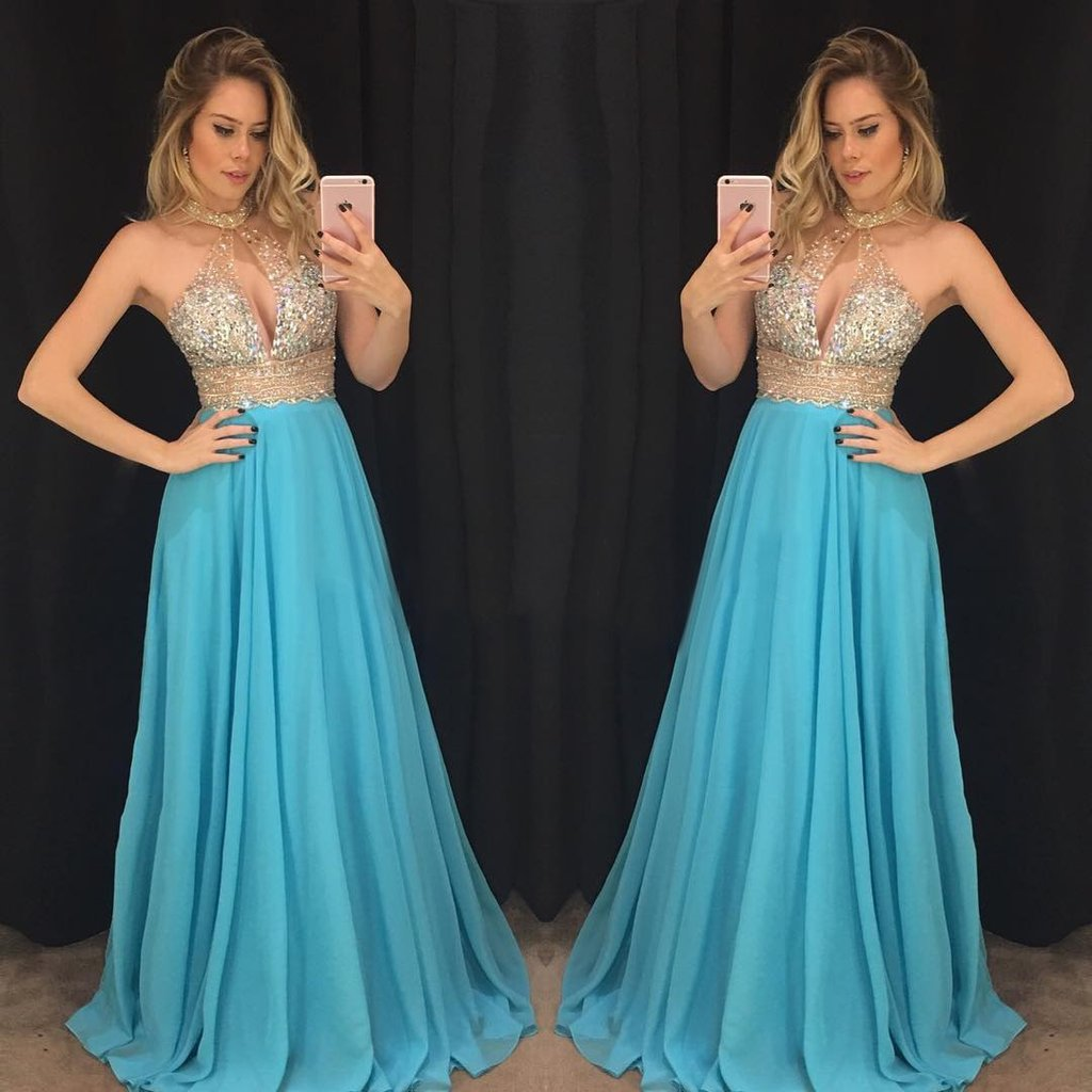 Blue Prom Dress, Beaded Prom Dress, Halter Prom Dress, Backless Prom Dress, Chiffon Prom Dress, 2018 New Arrival Prom Dress, A Line Prom Dress, Sexy Prom Dress, Women Formal Dresses