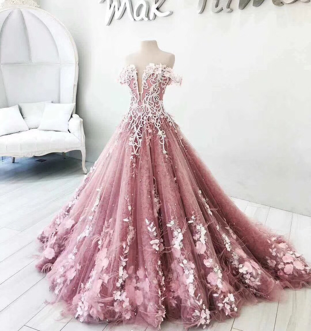 Ball Gown Prom Dresses, Off The Shoulder Prom Dresses, Hand Made ...