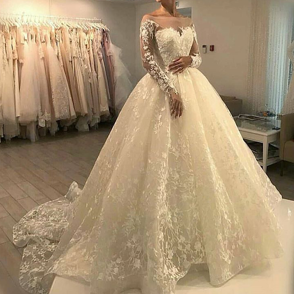 Long Sleeve Wedding Dresses Lace Arabic Off The Shoulder Bridal 2018 Gowns: Expensive Lace Wedding Dresses At Websimilar.org