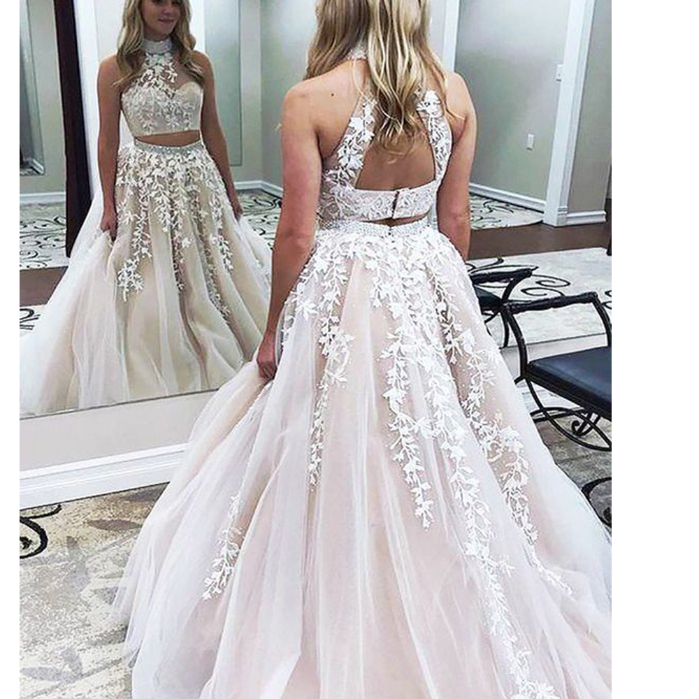 two pieces prom dresses, two pieces evening dresses, lace prom dresses, lace evening dresses, crystal prom dresses, crystal formal dresses, 2020 prom dresses, arabic prom dresses, beaded prom dresses, abiti da cerimonia da sera, abendkleider, robe soiree