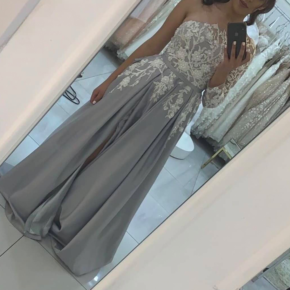 one shoulder prom dresses, lace prom dresses, long sleeve prom dresses, lace evening dresses, formal dresses, a line evening dresses, sliver party dresses, beaded prom dress, 2020 evening dress, custom make evening dresses, formal dresses