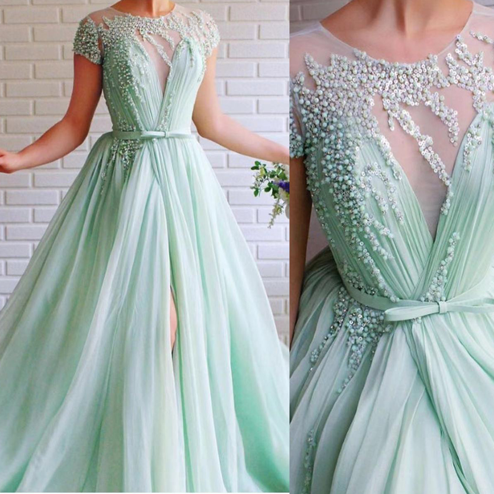 mint prom dresses, 2020 prom dresses, beaded prom dresses, pleats prom dresses, side slit prom dresses, short sleeve prom dresses, beaded evening dresses, mint evening dresses, cap sleeve prom dresses, chiffon prom dresses, new arrival prom dresses, sexy evening dresses, sheer prom dresses