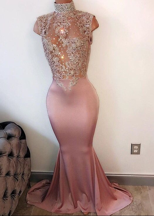 pink prom dresses, crew neck prom dresses, high neck evening dresses, mermaid formal dresses, crystal evening dresses, satin formal dress, evening dresses, party dresses, cheap evening gowns, new arrival evening dresses