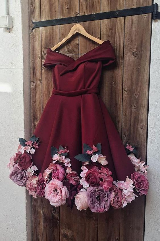 burgundy prom dresses, short prom dresses, lace prom dresses, arabic evening dresses, cheap party dresses, hand made flowers prom dresses, custom make evening dress, fashion party dresses, evening gowns, short evening dresses