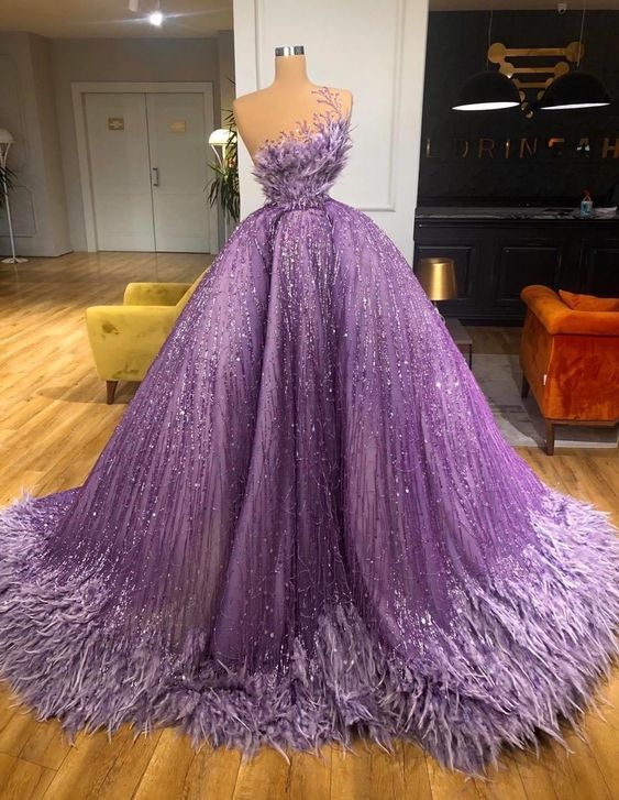 purple prom dresses, sparkly prom dresses, shinning prom dresses, sequins prom dresses, custom make prom dresses, feather prom dresses, 2021 formal dresses, cheap prom dresses, 2021 party dresses, purple prom dress, feather formal dress, ball gown evening dresses