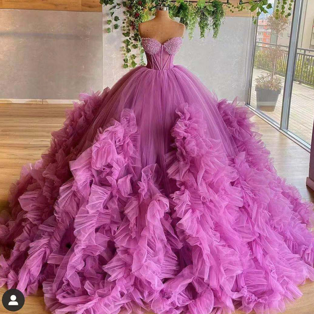 pink prom dresses, sweetheart prom dress, ruffle prom dresses, tulle prom dresses, ball gown evening dresses, evening gowns, sexy prom dresses, ball goen evening gowns, tulle evening dress, 2021 evening gowns, new arrival evening dress, 2021 party dresses
