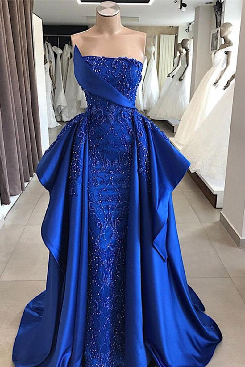 blue prom dresses, 2021 prom dresses, beaded prom dresses, detachable prom dresses, satin evening dresses, formal dresses, lace prom dresses, cheap prom dresses, arabic prom drsses