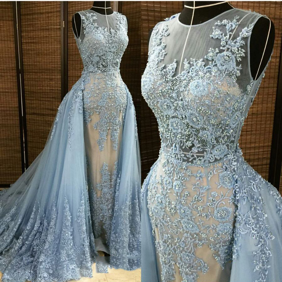 Blue Lace Evening Dresses, 2016 Pearls Evening Gowns, Detachable ...