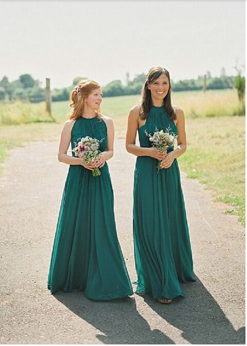Hunter Green Long Bridesmaid Dress 6ccd23a9b8fa