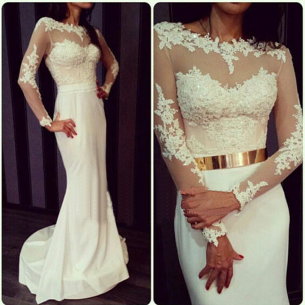 Long Sleeve Boat Neck Lace Beaded Mermaid Ivory Simple Elegant Wedding Dress Bridal Dresses 2016