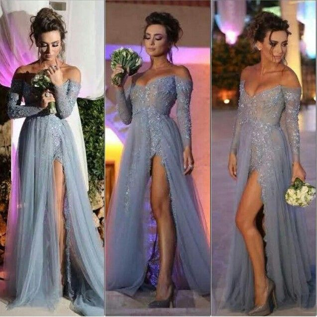 Long Sleeve High Side Slit Lace Beaded Long Tulle Sexy Gray Evening Dress  Formal Dresses 2016 4e350d8f747e