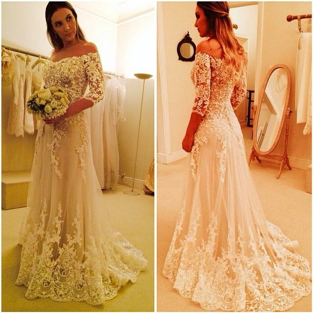 1ada0441 A Line Lace Long Sleeve Ivory Elegant Sheer Back Cheap Bridal Dress Women Wedding  Dresses 2016