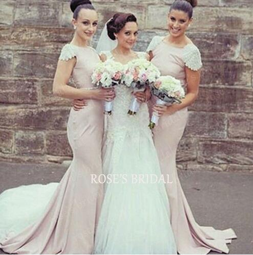 Dusty Pink Cap Sleeve Peals And Beads Chiffon Long Mermaid Bridesmaid Dresses Elegant Cheap Wedding Party Dresses