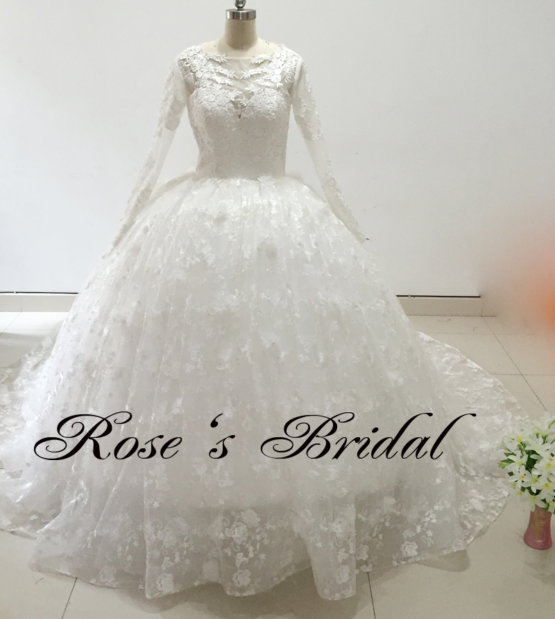 Long Sleeve Lace Applique Elegant Ivory Chapel Train Wedding Dress 2016 Bridal Ball Gowns