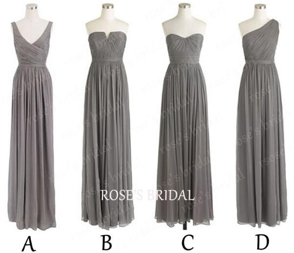Gray Bridesmaid Dresses Mismatched Long Cheap Chiffon Custom Make Mix Up Styles Bridesmaid Dresses For Women Wedding Party Dresses