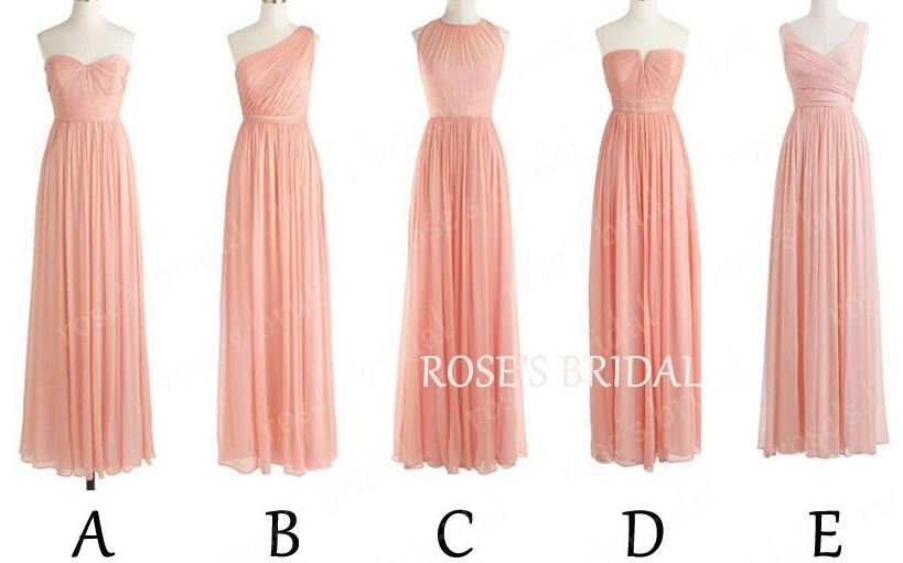 Blush Pink Chiffon Mix Up Styles Long Cheap Bridesmaid Dresses 2016 Wedding Party Dresses For Women Mismatched Bridemsaid Dresses
