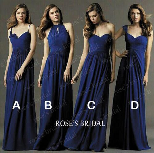 Royal Blue Cheap Long Elegant Mismatched Chiffon Bridesmaid Dresses Wedding Guest Dresses Formal Party Dress 2016
