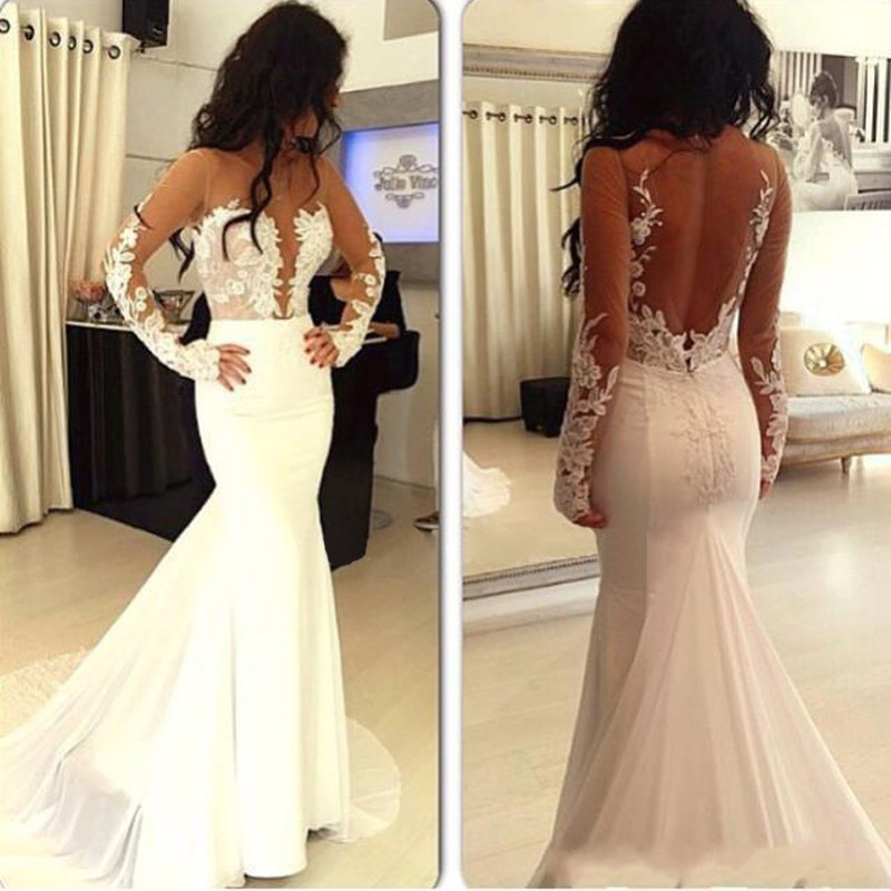 Long Sleeve Ivory Tight Open Back Wedding Dresses