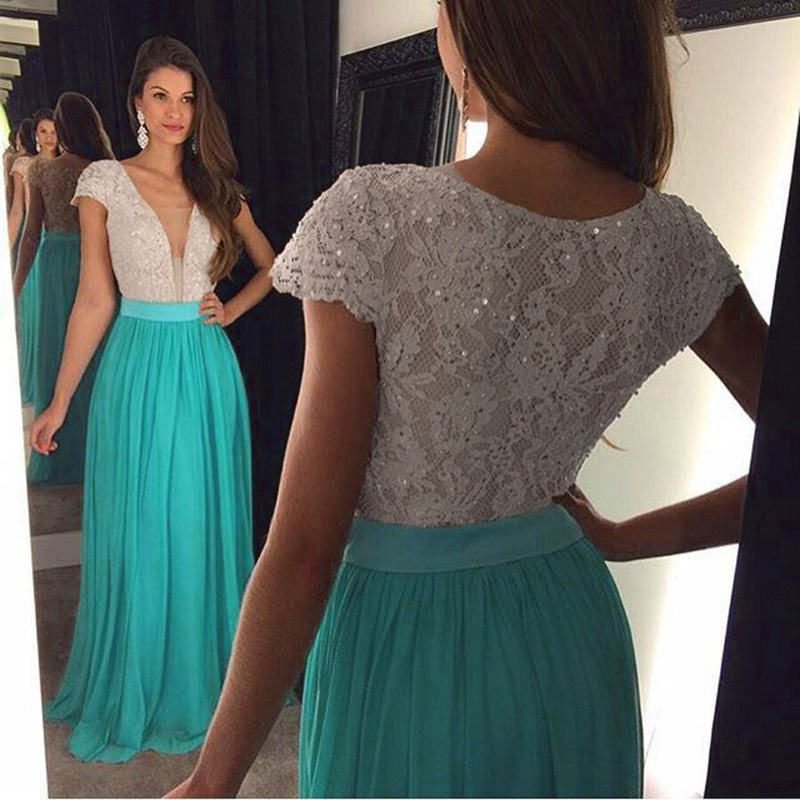Cap Sleeve Elegant Prom Dress, Lace Beaded Prom Dress, Turquoise ...