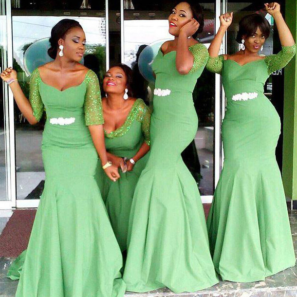 Mermaid Bridesmaid Dress Long African Evening Gowns Elegant Dresses Wedding Guest Lime