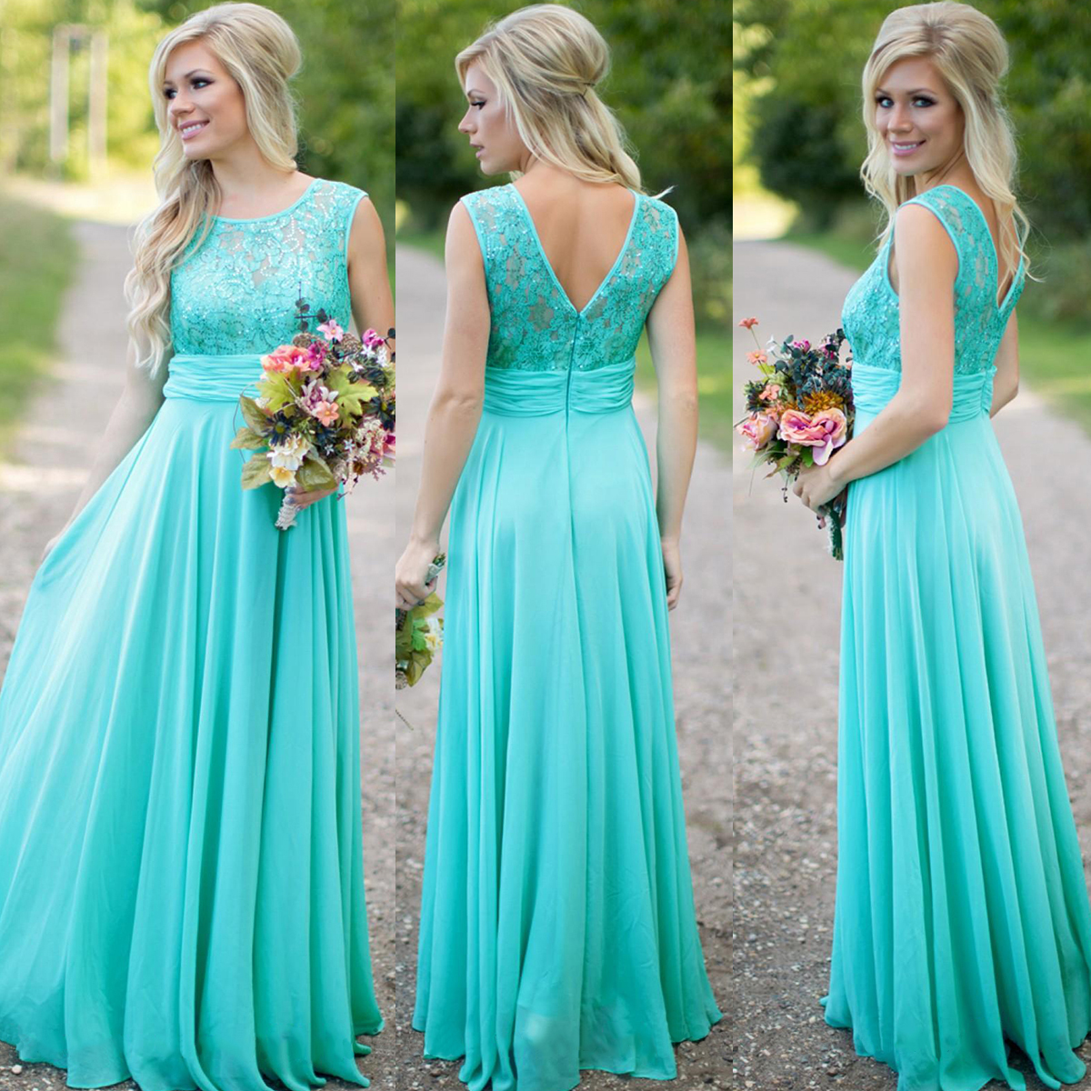 Turquoise Blue Bridesmaid Dress Lace Long Wedding Party Chiffon
